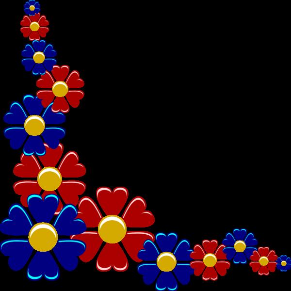 Blue red flower frame border - Photopublicdomain.com